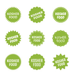 Kosher food icon set jewish healthy food labels vector