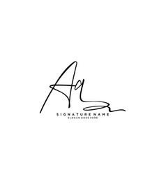 Letter aq signature logo template vector