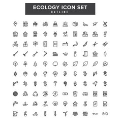Line ecology icons set power eco alternative vector