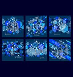 Lines and shapes abstract isometric 3d blue black vector