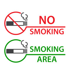 No smoking and smoking area labels vector