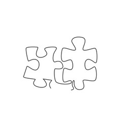 one single line drawing puzzle pieces vector image