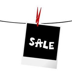Photo frame with sale message on a clothesline vector