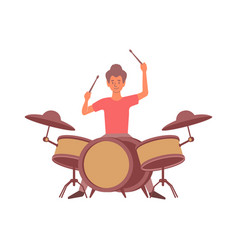 Playing drums flat composition vector