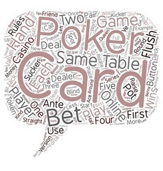 Poker Tips Poker Rules Online Poker text vector image