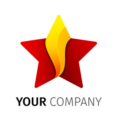 red and yellow five point star logo vector image