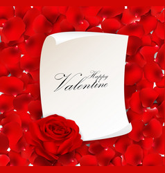 Red rose with blank paper for text vector