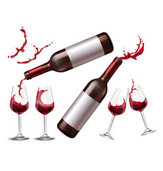 red wine splash collection vector image