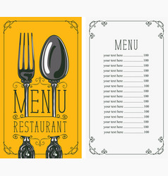 restaurant menu with price list fork and spoon vector image