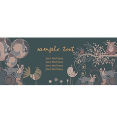 Retro banner with floral vector
