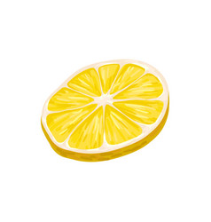 round slice of bright yellow lemon juicy and vector image