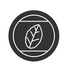 round sticker with tobacco leaf glyph icon vector image