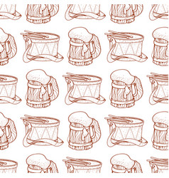 Seamless pattern with a drum and a mug of foamy vector