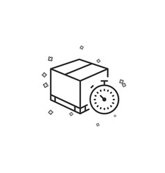 Shipping tracking line icon delivery timer vector
