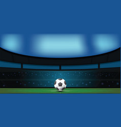 Soccer ball on green stadium in night vector