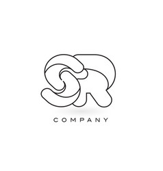 sr monogram letter logo with thin black monogram vector image
