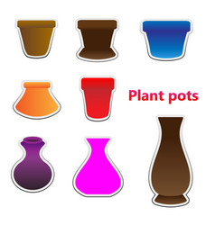 sticker set tree pots vector image