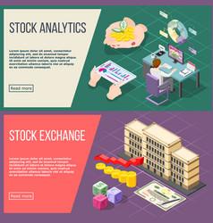 Stock exchange isometric banners vector