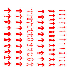 straight arrows icon set various style edge vector image