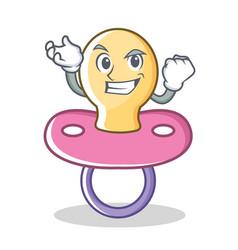 Successful baby pacifier character cartoon vector
