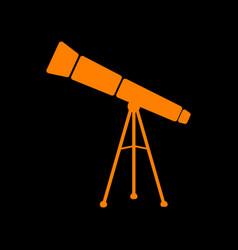 telescope simple sign orange icon on black vector image