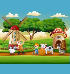 the farmers activity on the farm vector image