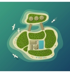Top view on tropical island or isle with beach vector