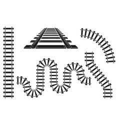 Train railway road rails constructor elements vector