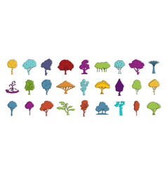 tree icon set color outline style vector image
