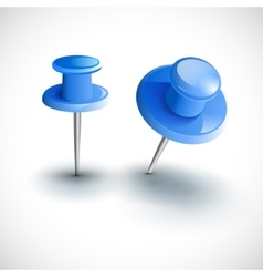 Two blue pushpins isolated vector