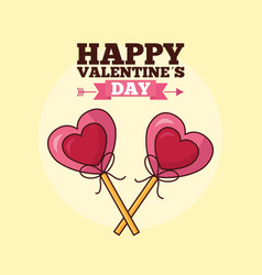 Valentines day celebration with hearts lollipops vector