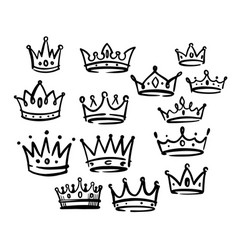 various doodle crowns hand drawn set vector image
