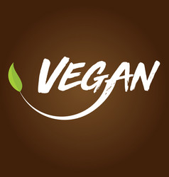 vegan logo brown background vector image