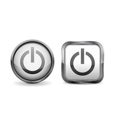 Web 3d buttons power glass icons vector
