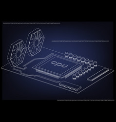 white motherboard on blue vector image