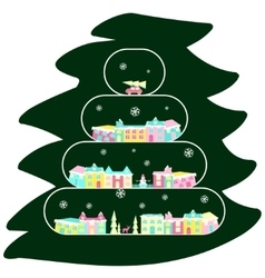 Winter village on christmas tree vector