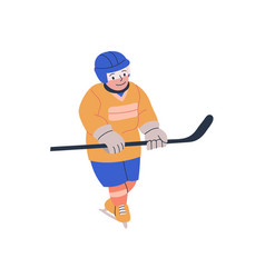 Young boy with stick playing ice hockey game vector
