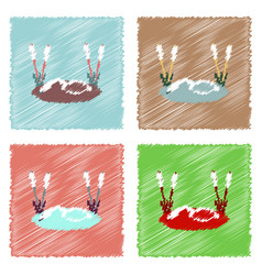 collection of flat shading style icons swan in vector image vector image