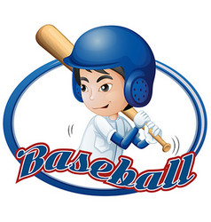 Label design with boy playing baseball vector image vector image