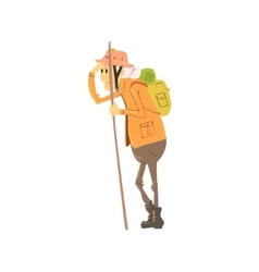 Old Lady Hiking vector image
