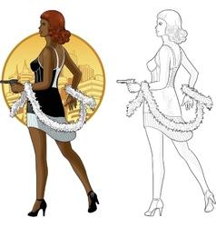 Retro girl mixed race in black with a gun vector image vector image
