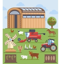 Set flat icons on farming and agriculture theme vector image vector image