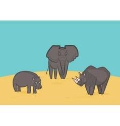 Elephant Rhino and Hippo vector image vector image