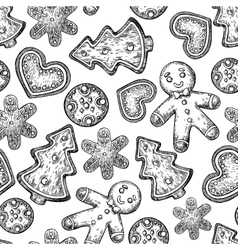 Gingerbread Christmas cookies seamless pattern vector image