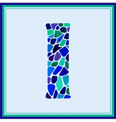 I - letter - Green Watercolor mosaic vector image