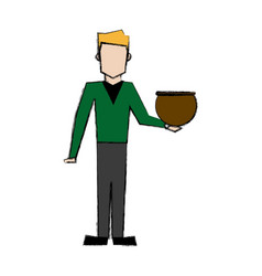 man holding a jar with a fish design vector image