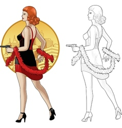 Retro girl caucasian race in black with a gun vector image