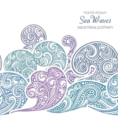 Seamless border pattern with hand drawn doodle sea vector image