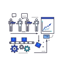 Analysis of Production Flat Style Icon vector image