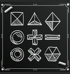 chalkboard polygonal sketch shapes figures ico vector image vector image